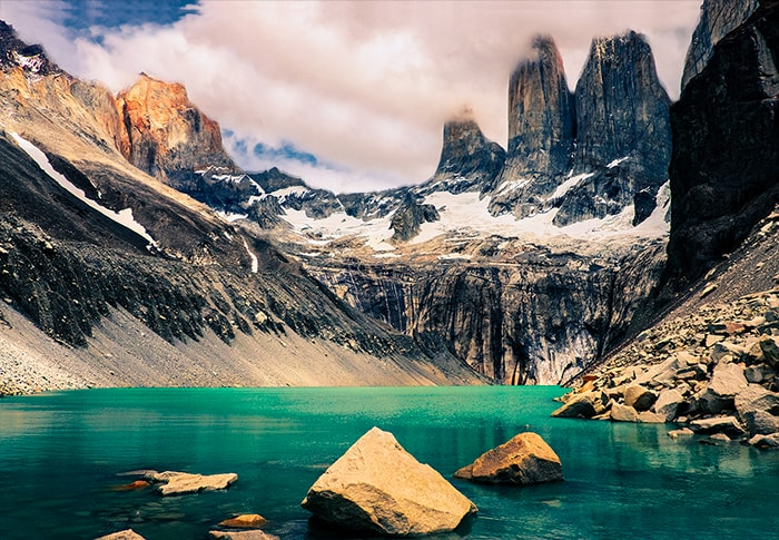 A lake in Patagonia mountains with great view of the towers