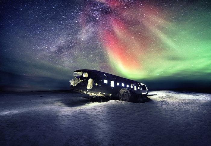 a plane in a beach