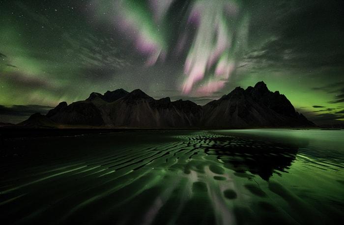 aurora borealis in Stockness beach