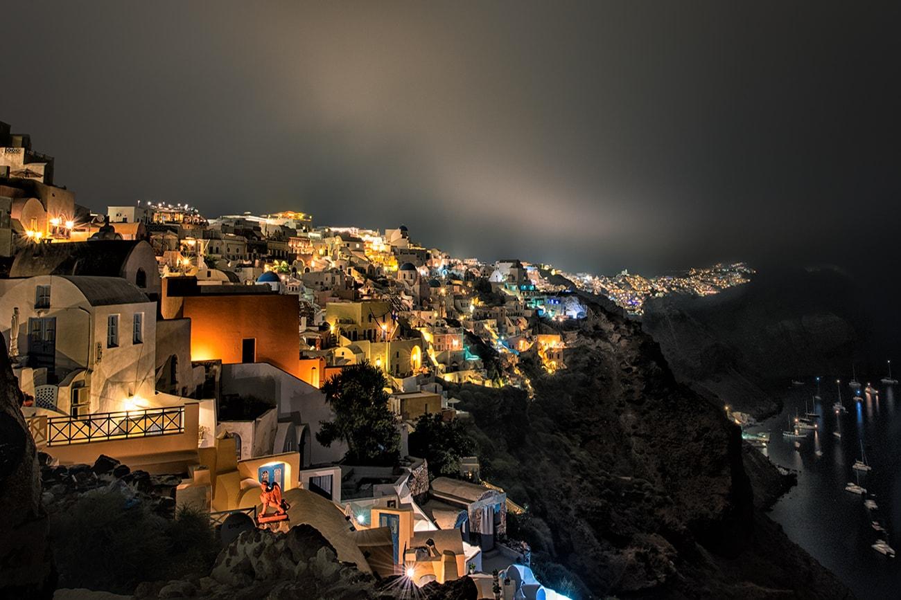 night caldera view from Oia,Santorini