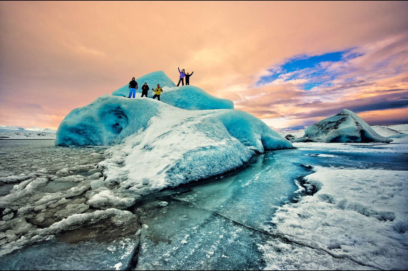 Iceberges in a frozen lake