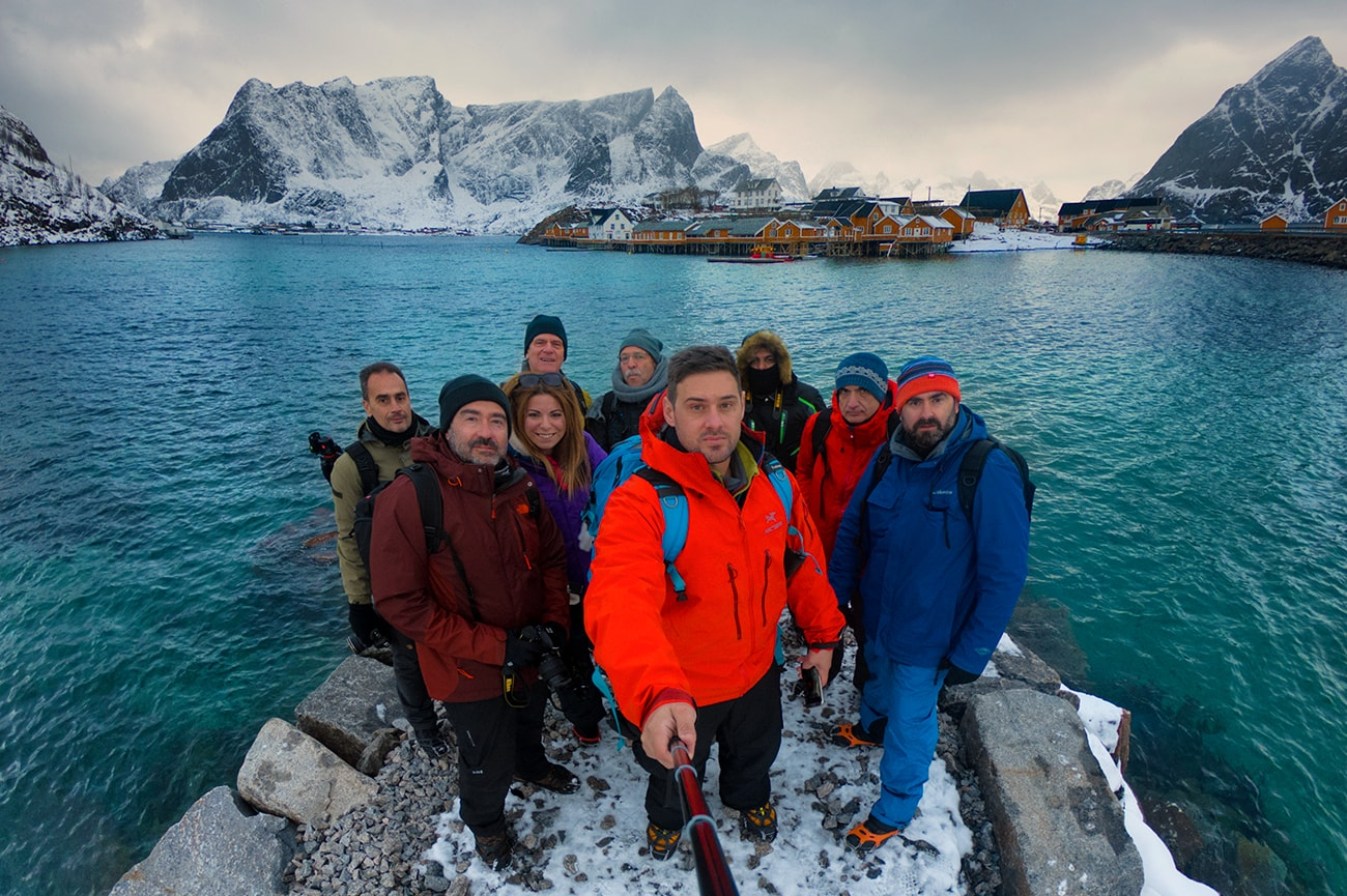 Lofoten islands selfie photo with my team