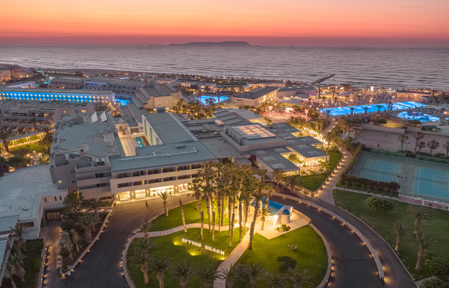 aerial view at sunset at lyttos beach