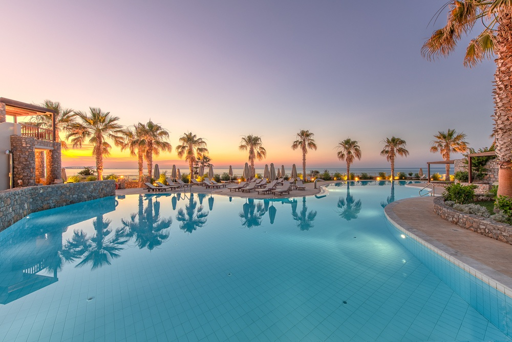 Architecture photography,pool under the sunset